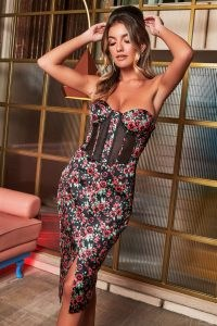 rosie connolly sheer front corset midi dress in rose print ~ fitted strapless party dresses ~ glamorous evening fashion