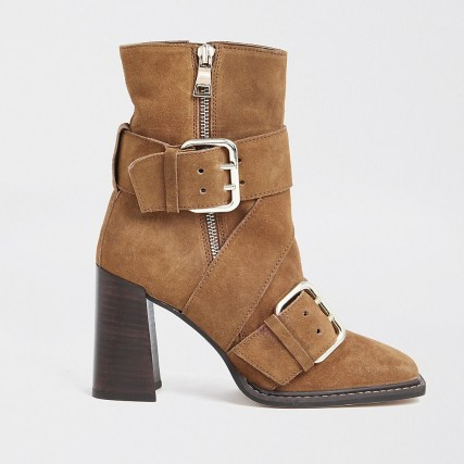RIVER ISLAND Rust suede buckle square toe boot   brown block heel boots - flipped