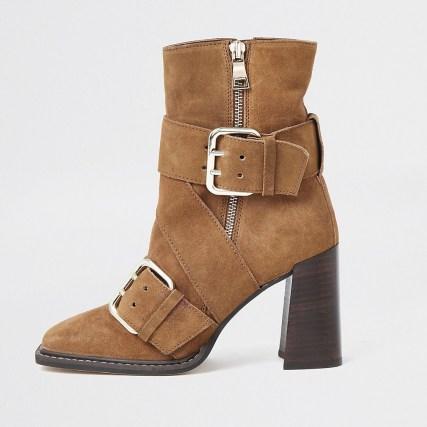 RIVER ISLAND Rust suede buckle square toe boot   brown block heel boots