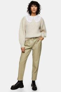 TOPSHOP Sage Crocodile PU Belted Peg Trousers ~ faux leather croc effect pants
