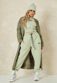 MISSGUIDED sage quilted missguided 90s oversized joggers ~ green jogging bottoms