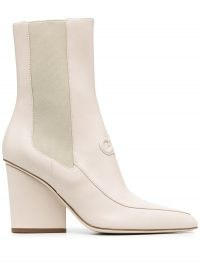 Salvatore Ferragamo Gancini booties in bone-white / contemporary block heel ankle boot
