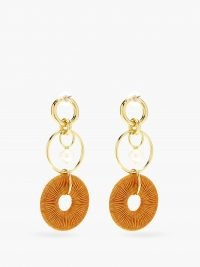 LIZZIE FORTUNATO Santa Ana pearl & gold-plated drop earrings / statement orange cord drops / longline multi hoops / jewellery