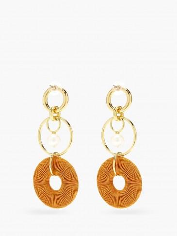LIZZIE FORTUNATO Santa Ana pearl & gold-plated drop earrings / statement orange cord drops / longline multi hoops / jewellery - flipped