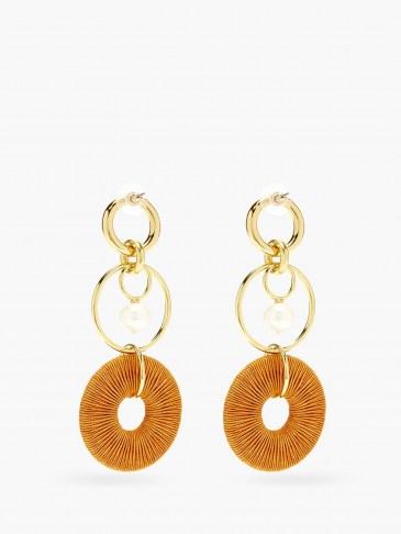 LIZZIE FORTUNATO Santa Ana pearl & gold-plated drop earrings / statement orange cord drops / longline multi hoops / jewellery