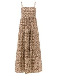 MATTEAU Scoop-back floral-print cotton maxi dress / brown tiered skinny strap dresses