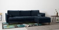 Scott 4 Seater Right Hand Facing Chaise End Corner Sofa, Navy Cotton Velvet – luxury sofa for your home