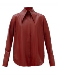 16ARLINGTON Seymour spearpoint-collar leather shirt in burgundy ~ oversized pointed collars ~ luxe dark red shirts
