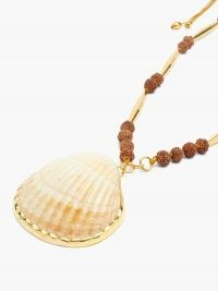 TOHUM Shell 24kt gold-plated beaded necklace / bohemian style necklaces / boho sea inspired jewellery / shells