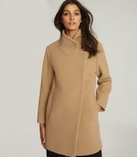 REISS SICILY WOOL BLEND MID LENGTH COAT CAMEL ~ light brown coats