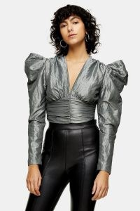 Topshop Silver Taffeta Crop Blouse | metallic puff sleeve evening tops
