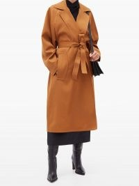 ROCHAS Single-breasted belted wool coat in tan-brown ~ waist tie wrap coats