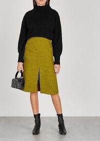 SOEUR Laurence lime tweed midi skirt ~ green front split A-line skirts