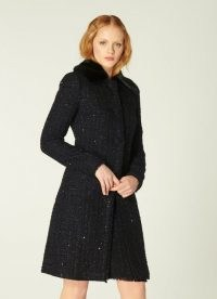 LK BENNETT SPARKLE BLACK LUREX TWEED COAT / glittering faux fur collar coats / glam winter outerwear