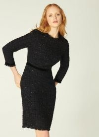 K.K. BENNETT SPARKLE BLACK LUREX TWEED DRESS / chic metallic thread dresses / textured LBD