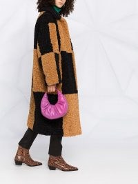 STAND STUDIO faux shearling checkered coat / textured brown and black checked winter coats