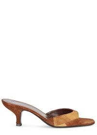 STAUD Gene 75 patchwork suede mules ~ tonal brown patch detail mule