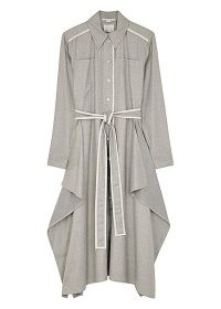 STELLA MCCARTNEY Leilani grey wool midi shirt dress ~ draped panel dresses