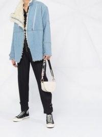 Stella McCartney Olive shearling lined denim jacket | textured faux fur jackets