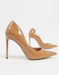 Steve Madden Vala pointed heeled shoe in camel ~ brown patent courts ~ stiletto court shoes