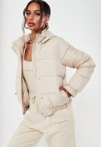 Missguided stone hooded puffer jacket ~ neutral padded jackets ~ casual style