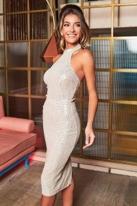 LAVISH ALICE stretch sequin tie back midi dress in silver ~ glittering party dresses ~ evening glamour