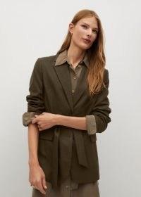 MANGO Camille structured bow blazer / khaki green tie waist blazers