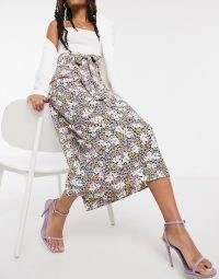 Style Cheat tie waist midi skirt co ord in ditsy floral print / high rise flower printed skirts