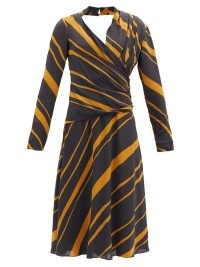 PROENZA SCHOULER Surplice-neck striped crepe de chine midi dress – bold stripes