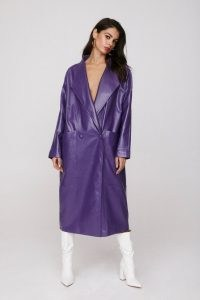 NASTY GAL Take the Lead Faux Leather Coat ~ double breasted purple coats
