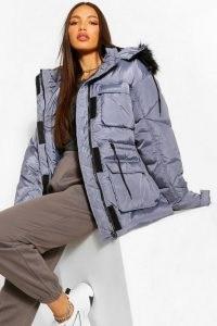 boohoo Tall Faux Fur Hooded Waist Cinch Coat in Grey