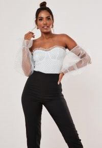 Missguided tall white polka dot organza bardot bodysuit ~ semi sheer off the shoulder bodysuits