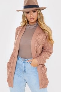 IN THE STYLE TAN CHUNKY OPEN FRONT CARDIGAN WITH POCKETS ~ cardigans ~ knitwear