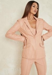 MISSGUIDED tangerine co ord faux leather skinny tailored blazer ~ slanted pockets ~ asymmetric pocket detail ~ blazers