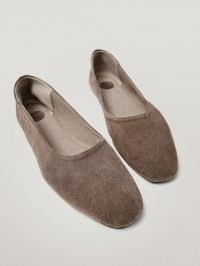 Massimo Dutti Taupe soft leather ballet flats | neutral ballerinas | flexible flat shoes