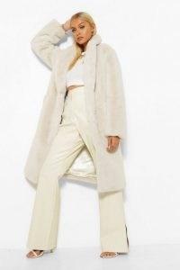 boohoo Teddy Faux Fur Trim Plush Coat in Cream ~ fluffy winter coats