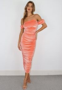Missguided terracotta velvet bardot ruched midaxi dress ~ off the shoulder going out dresses