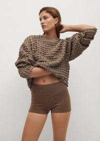 MANGO POMPAS Textured sweater ~ brown round neck sweaters