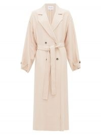 MICHELLE WAUGH The Jany double-breasted belted trench coat dusty pink ~ self tie coats ~ chic outerwear