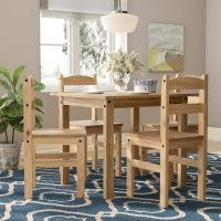 Anns Dining Set with 4 Chairs by Three Posts – inspired by village life in England and France – rustic charm