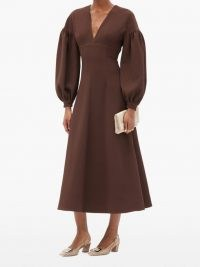 EMILIA WICKSTEAD Tiege balloon-sleeve wool-crepe midi dress in chocolate brown | voluminous sleeves | deep V neck dresses