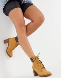 Timberland Allington lace up heeled ankle boots in wheat