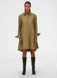 Tibi Tissue Faux Leather Shirt Dress in Light Loden