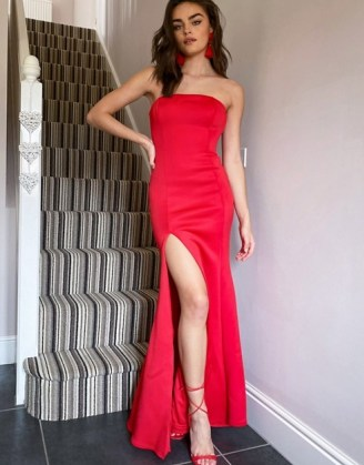 True Violet Black Label structured bandeau fishtail maxi dress with thigh split in red | strappless evening wear | high slit occasion dresses