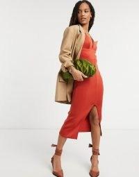 True Violet bodycon midi dress with front split in burnt orange ~ plunge front party dresses