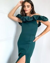 True Violet exclusive scrunchie bardot midi dress with thigh split in emerald green | off the shoulder | slit occasion dresses