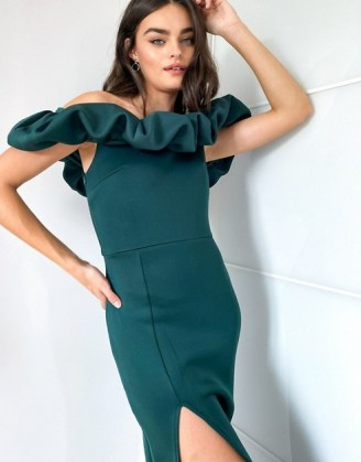 True Violet exclusive scrunchie bardot midi dress with thigh split in emerald green   off the shoulder   slit occasion dresses - flipped