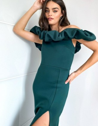 True Violet exclusive scrunchie bardot midi dress with thigh split in emerald green   off the shoulder   slit occasion dresses