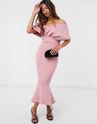 True Violet folded off shoulder peplum midi dress in dusty rose ~ pink bardot dresses ~ party glamour - flipped