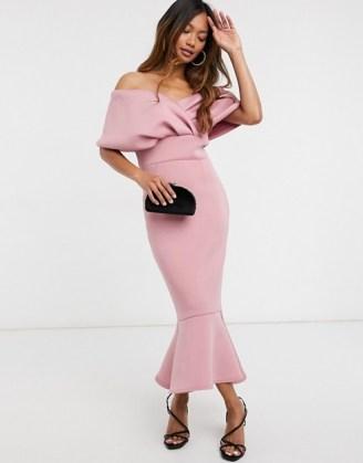 True Violet folded off shoulder peplum midi dress in dusty rose ~ pink bardot dresses ~ party glamour